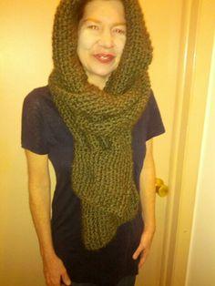 Tassel knit hooded scarf