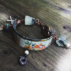 Rustic Asssemblage bracelet  Raw stones crucifix charm by quisnam