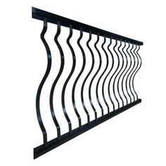 x 36 in. Textured Black Aluminum Curved Baluster Straight Railing - The Home Depot Deck Railing Kits, Vinyl Railing, Deck Railings, Iron Railings, Outdoor Railings, Home Depot, Outdoor Screen Panels, Stair Brackets, Mounting Brackets