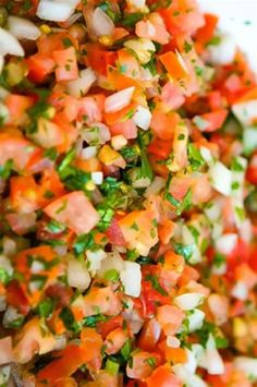 An Authentic Mexican Pico de Gallo - white onion - 4 plum tomatoes - 3 jalapeno - lime - salt