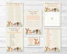 Woodland Forest Animal Baby Shower Game by LittlePrintsParties