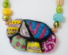 Needle Felted Necklace Multicolored Necklace by innercreatures