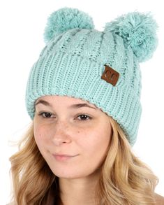 Thick Knit CC Beanie Hat with Double Pom d813472f6c45