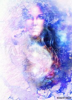 goddess woman and symbol Yin Yang in cosmic space. Yin Yang, Cosmic, Symbols, Celestial, Marble, Outdoor, Image, Woman, Outdoors