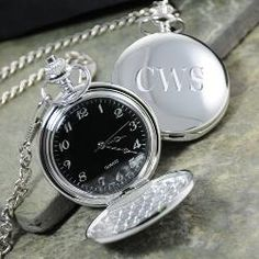 Personalized Black Face Silver-Plated Pocket Watch