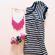 Urban outfitters navy and white stripe top