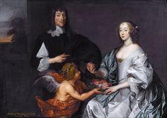 Paul Bayning, 2nd Viscount Bayning of Sudbury and Penelope (1620-1647) daughter of Sir Robert Naunton, (later wifo of Philip Herbert 5th Earl of Pembroke) by school of Anthony van Dyck.jpg
