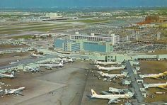 Great vintage 1966 shot of Miami Intl. Northeast Airlines 727, Pan Am 707, National Airlines 727, DC-8.