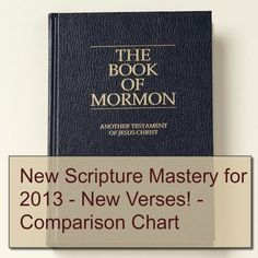 Several changes were made to the 2013 Book of Mormon Scripture Mastery List