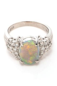Vintage Estate Jewelry Platinum Opal & Diamond Ring