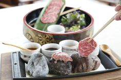 Ishi Yaki 120g - hot stone, dipping sauces, pickled plums