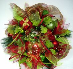 Red and Lime Christmas door Wreath with gift boxes lights and deco mesh Fun n Whimsical n Lots of BlinG by Cabin Cove Creations