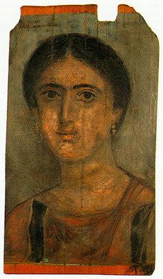 Portrait of a woman from Fayoum. Funerary painted wooden board dated to the 2nd century A.D. Inv. no. 2574.