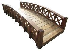 SamsGazebos Swan Wood Garden Bridge with Cross Halved Lattice Railings 8Feet Brown *** Want additional info? Click on the image.