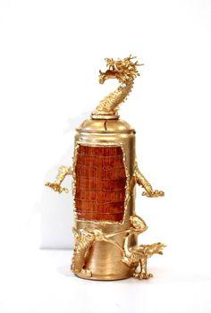 Bombe Custom Can's Five Urban Street Art Dragon Gold Skin Cuir Serpent Reptile