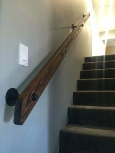 Brilliant Diy Stair Railing Pipe And Wood Hand Rail Made From Scratch Intended For
