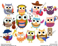 Sport owls Digital clip art part 1 for Personal by Giftseasonstore
