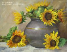 Sunflowers with Pottery - Sue Cervenka