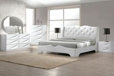 This Madrid modern Queen & King size bedroom set in white Lacquer Exterior & Headboard With Like Crystals. 4 Pcs Bedroom Set California King Size Bed Dresser Mirror Night Stand Off White Lacquer. California Bedroom Set Only. Modern King Bedroom Sets, King Size Bedroom Sets, White Bedroom Set, 5 Piece Bedroom Set, Contemporary Bedroom Furniture, Bedroom Furniture Sets, Master Bedroom, Kids Bedroom, Modern Bedrooms