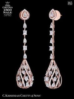 Krishniah Chetty & Sons™ celebrates The Grand 1869 Sale till May Call 40001869 for more details. Get OFF on this Diamond Chandelier. Jewelry Tree, I Love Jewelry, Fine Jewelry, Jewelry Design Drawing, Bridal Necklace Set, Diamond Earing, Pink Bling, Bridesmaid Jewelry, Beautiful Earrings