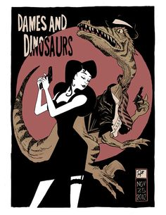 Dames and Dinosaurs Pulp Noir by RobinHolsteinArt on Etsy