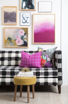 Caitlin Wilson Black Buffalo Check Settee & Pillows