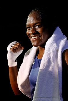 Nicola Adams celebrates winning her bout and a gold medal. Love Nicola - such an amazing attitude and whenever you hear her interviewed she just seems to love life.