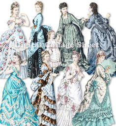 victorian paper dolls | Victorian Paper Dolls 03 vintage fashion ladies ATC ACEO scrap collage ...