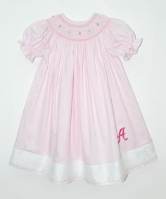 Look what I found on #zulily! Pink Floral Initial Bishop Dress - Infant, Toddler & Girls by Vive La Fête #zulilyfinds