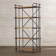 Industrial Loft Bookcase 5 Shelves Organizers Storage Metal Wood Rustic Solid
