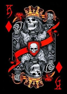 Skulls n Skeletons King Tattoos, Skull Tattoos, Playing Cards Art, Art Carte, Skull Artwork, Arte Obscura, Skull Wallpaper, Card Tattoo, Chicano Art