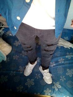 rippedjeans.plaintee.polobuttonsup.airmax90 Parachute Pants, Fashion, Moda, Fashion Styles, Fashion Illustrations