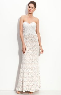 JS Collections Chiffon & Lace Strapless Gown available at #Nordstrom