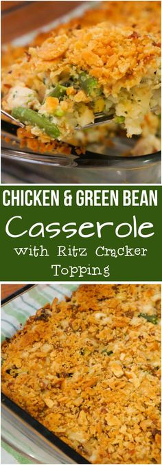 Chicken Green Bean Casserole with a Crispy Ritz Cracker topping. This easy chick. Chicken Green Bean Casserole with a Crispy Ritz Cracker topping. This easy chicken casserole recipe is made with frozen green beans and cream of vegetable soup. Cream Of Vegetable Soup, Crockpot Vegetable Soup, Vegetable Soups, Vegetable Casserole, Noodle Casserole, Biscuits Croustillants, Chicken Green Beans, Cream Of Mushroom Chicken, Baked Green Beans