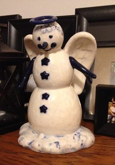 Beautiful Vintage Blue and White Crackle Snowman by Twenty2October