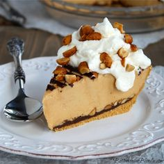 Ultimate No Bake Peanut Butter Pie is pure peanut butter bliss! So simple to make & no oven required! | ButtercreamBlondie.com