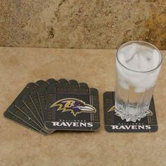 """NFL Baltimore Ravens 8-Pack Absorbent PaperKraft Coasters by Football Fanatics. $4.95. Measures 4"""" x 4"""". Team logo and colors. Made of recycled pulp wood materials. Bio-degradable. Baltimore Ravens 8-Pack Absorbent PaperKraft CoastersMeasures 4"""" x 4""""Made of recycled pulp wood materialsMade in the USAOfficially licensed NFL productTeam logo and colorsBio-degradableTeam logo and colorsBio-degradableMeasures 4"""" x 4""""Made of recycled pulp wood materialsMade in the USAOfficially l..."""