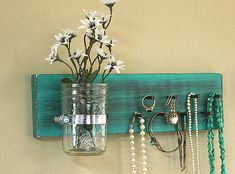 Jewelry Holder Organizer Wall Hanging Vintage Brown Green Turquoise Jewelry Holder Rack