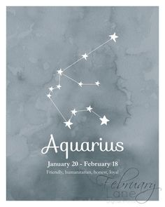 Daily Horoscope Taureau- Aquarius Zodiac Constellation 810 Instant Download Birthday Horoscope Astrology Stars Watercolor Printable Poster Home Decor Wall Room Art