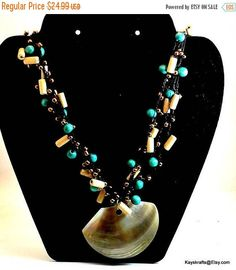 Excited to share the latest addition to my #etsy shop: Merry Christmas Sale Mother of Pearl Shell Pendant on Turquoise Copper and Bamboo Bead Chain Vintage Necklace Kayskrafts http://etsy.me/2BsFBeq #jewelry #necklace #blue #hook #unisexkids #copper