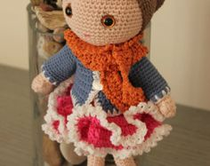 Crocheted doll Sabina -Unique gift - Amigurumi girl in a fall outfit