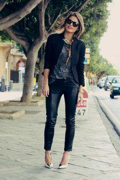 heather grey tee + leather pants + toe cap heels + statement necklace