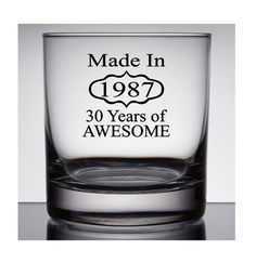 30th Birthday Rocks Glass Made in 1987 30th by PersonalizedGiftsUS