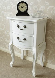 White bedside table french style chic bedroom drawers furniture shabby vintage | eBay