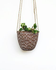 Hanging Planter  Brown and White Carved by LaurenSumnerPottery