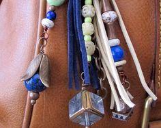 Purse Charm Charm Tassel Zipper Pull Key Chain by ThePaintedCabeza