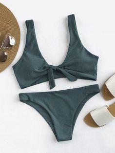 Bow Tie Front Scoop Back Bikini Set GREEN