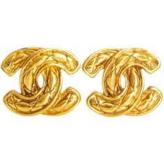 Pre-Owned Chanel Signature Logo Gold Earrings Vintage ($350) ❤ liked on Polyvore featuring jewelry, earrings, no color, gold earrings, costume jewelry, chanel earrings, tri color gold earrings and gold costume jewelry