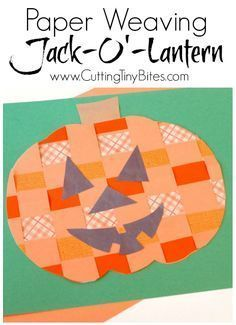 Easy fall or Halloween craft for kids. Paper weaving pumpkin or jack-o'-lantern. Great fine motor work for preschool or elementary! #fallcraftsforkids