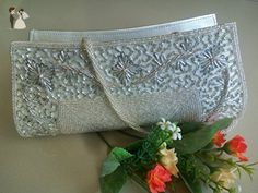 Vintage white Bag Wedding Party Bag Bridal Clutch beautiful ethnic bead wallet handmade party purse made in India - Bridal handbags (*Amazon Partner-Link)